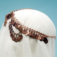 Elegant Coin Headpiece - Copper-Tone