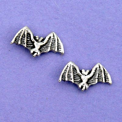 Silver Bat Stud Earrings