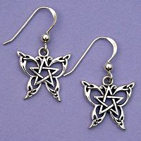 Silver Celtic Butterfly Earrings - Earrings, Pentacles, Moons & Stars, Butterflies & Dragonflies, Featured on Facebook