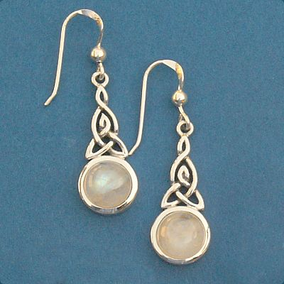 Silver Celtic Moonstone Earrings