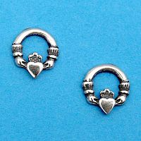 Silver Tiny Claddagh Earrings