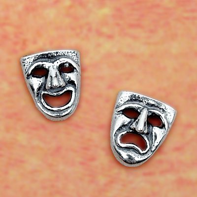 Silver Drama Masks Stud Earrings