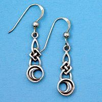 Silver Celtic Moon Earrings