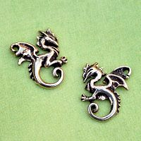 Silver Dancing Dragon Stud Earrings