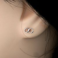 Silver Infinity Sign Stud Earrings