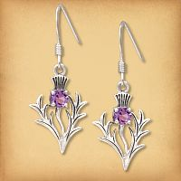 Silver Amethyst Thistle Earrings