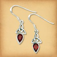 Silver Garnet Trinity Knot Earrings