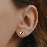 Silver Dotted Triskele Stud Earrings