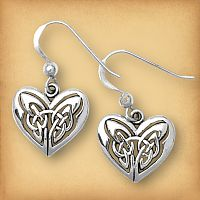 Silver Celtic Heart Earrings