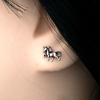 Silver Prancing Unicorn Stud Earrings