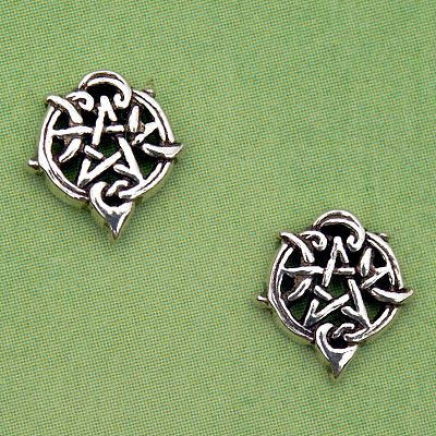 Silver Heart Pentacle Stud Earrings