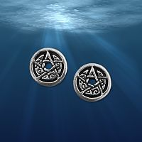 Silver Crescent Moon Pentacle Stud Earrings