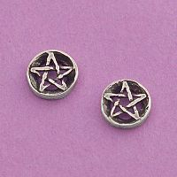 Silver Pentacle Post Earrings