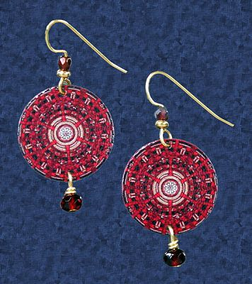 Red Mandala Earrings - Earrings