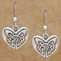 Silver Celtic Heart Earrings - Earrings, Sterling Silver Earrings, Hearts & Romance