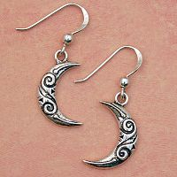 Tribal Moon Earrings - Earrings, Moons & Stars, Tribal Design, New Lower Silver Prices