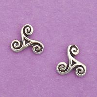 Silver Tiny Triskele Stud Earrings