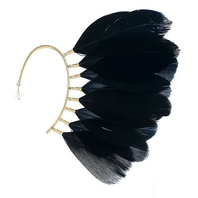 Black Feather Wire Ear Cuff