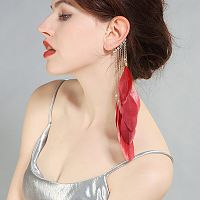 Red Feather Dangle Wire Ear Cuff