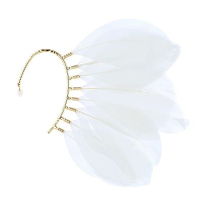 White Feather Wire Ear Cuff