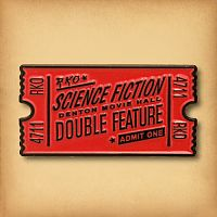 Double Feature Ticket Enamel Pin