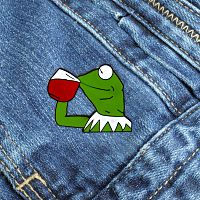 Tea Drinking Kermit Enamel Pin