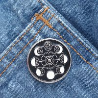 Moon Phase Wheel Enamel Pin