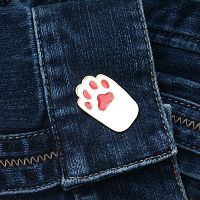 White Cat's Paw Enamel Pin