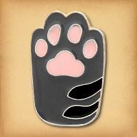 Grey Cat's Paw Enamel Pin