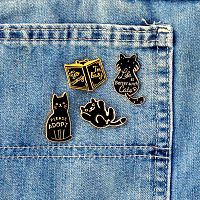 Belly Up Black Cat Enamel Pin