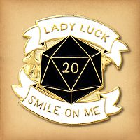 Lady Luck d20 Enamel Pin