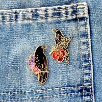 """Raven and Roses"" Enamel Pin"