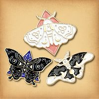 Set of Three Moth Enamel Pins
