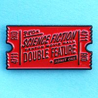 Science Fiction Double Feature Enamel Pin