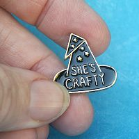 """She's Crafty"" Witch Hat Enamel Pin"