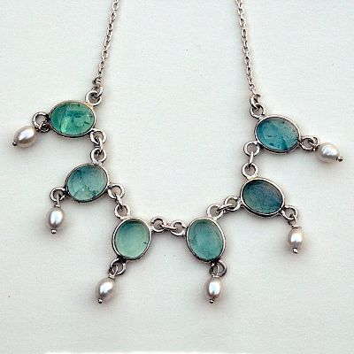 Silver Apatite and Pearl Necklace