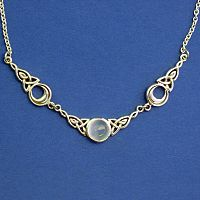 Silver Magical Moon Necklace - Rainbow Moonstone