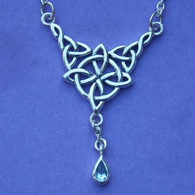Silver Celtic Spirit Topaz Necklace