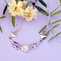 Silver Rainbow Moonstone Scroll Necklace