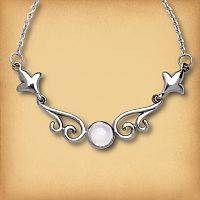 Silver Rainbow Moonstone Scroll Necklace - Pagan Jewelry, Celtic Jewelry, Handmade Cloaks, and more.