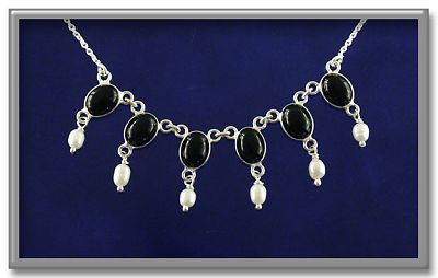 Onyx and Pearl Necklace - Necklaces