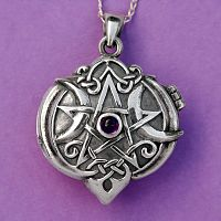 Silver Amethyst Heart Pentacle Locket