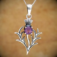 Silver Amethyst Thistle Pendant - Pendants and Necklaces, Sterling Silver Pendants, Silver Amethyst Thistle Jewelry