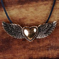 Winged Heart Bronze Pendant - Reiki Candles, Candles, Holders, Altar Accessories, Hearts & Romance