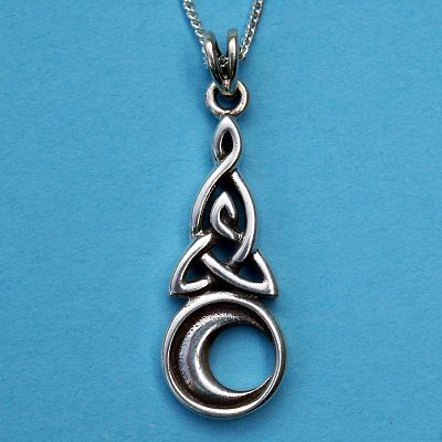 Silver celtic moon pendant at gryphons moon silver celtic moon pendant mozeypictures Image collections