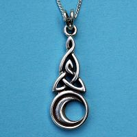 Silver Celtic Moon Pendant