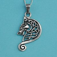 Silver Celtic Dragon Head Pendant