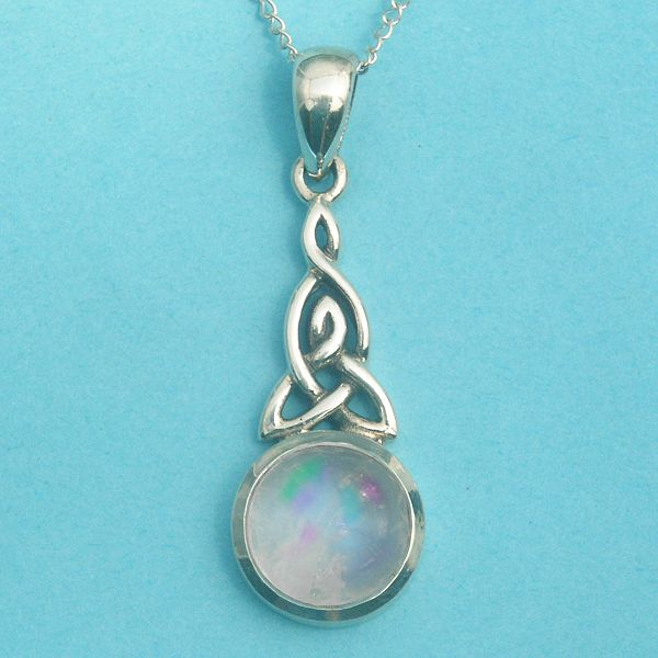 Silver Celtic Moonstone Pendant - Rainbow at Gryphon's Moon