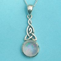 Silver Celtic Moonstone Pendant - Rainbow