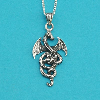 Coiled Dragon Pendant - Sterling Silver Pendants - Celtic Pendants, Pagan Pendants, Claddagh Pendants, Unusual Pendants, Nature Pendants, Here Be Dragons!